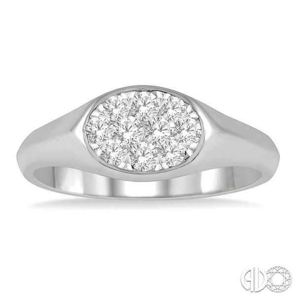 1/3 ctw Oval Shape Lovebright Diamond Ring in 14K White Gold Image 2 Grogan Jewelers Florence, AL