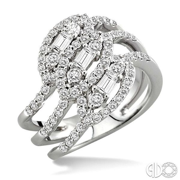 1 1/2 Ctw Round and Baguette Cut Diamond Fashion Ring in 18K White Gold Grogan Jewelers Florence, AL