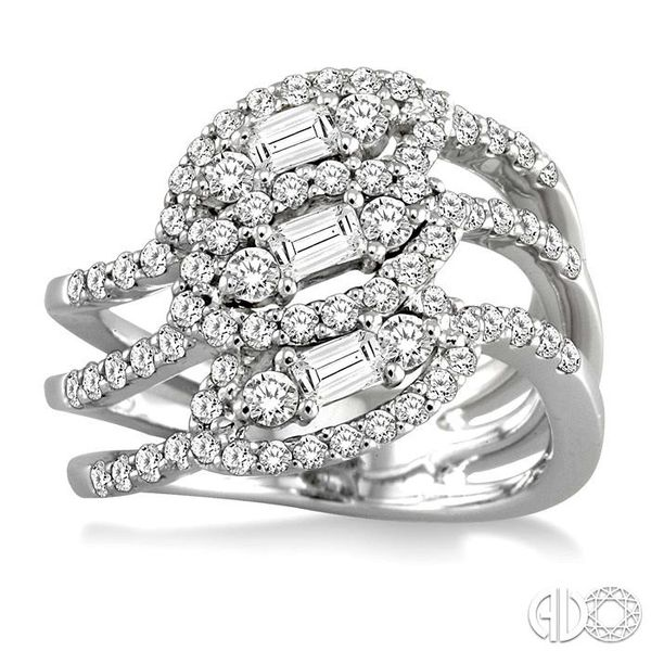 1 1/2 Ctw Round and Baguette Cut Diamond Fashion Ring in 18K White Gold Image 2 Grogan Jewelers Florence, AL