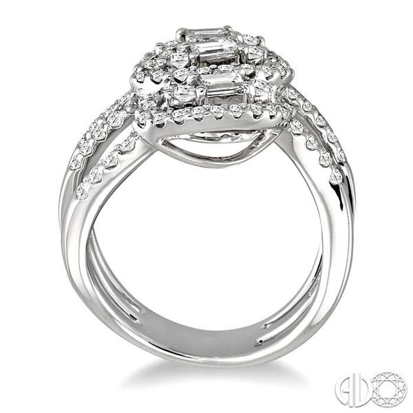 1 1/2 Ctw Round and Baguette Cut Diamond Fashion Ring in 18K White Gold Image 3 Grogan Jewelers Florence, AL
