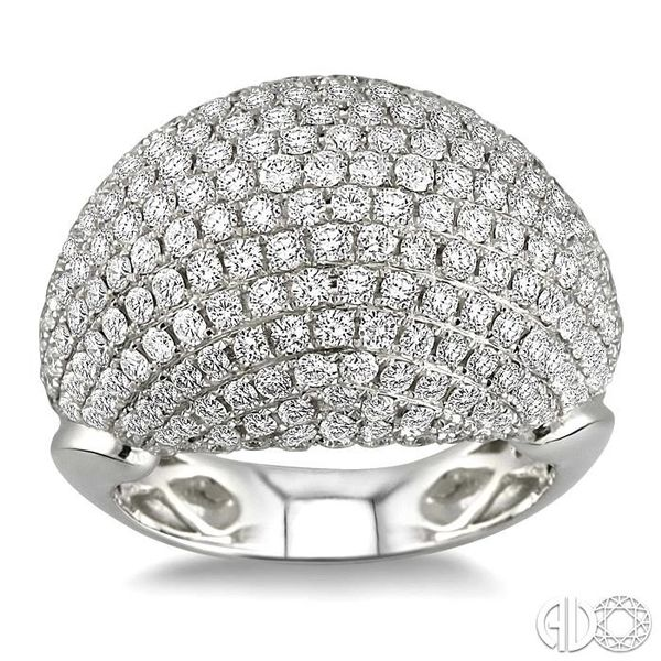3 Ctw Dome Shape Round Cut Diamond Ring in 18K White Gold Image 2 Grogan Jewelers Florence, AL