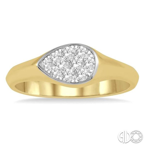 1/4 ctw Pear Shape Lovebright Diamond Ring in 14K Yellow and White Gold Image 2 Grogan Jewelers Florence, AL
