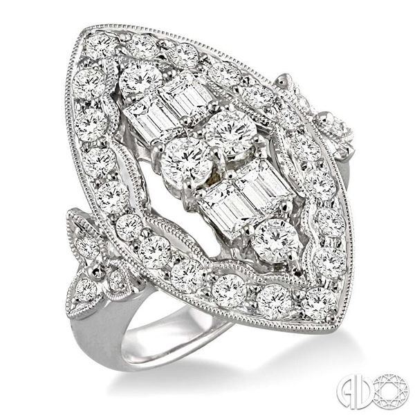 2 Ctw Baguette and Round Cut Traditional Diamond Ring in 18K White Gold Grogan Jewelers Florence, AL