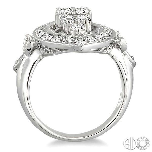 2 Ctw Baguette and Round Cut Traditional Diamond Ring in 18K White Gold Image 3 Grogan Jewelers Florence, AL