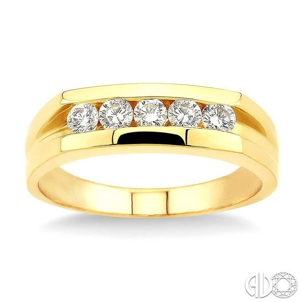 1/2 Ctw Round Cut Men's Diamond Ring in 14K Yellow Gold Image 2 Grogan Jewelers Florence, AL