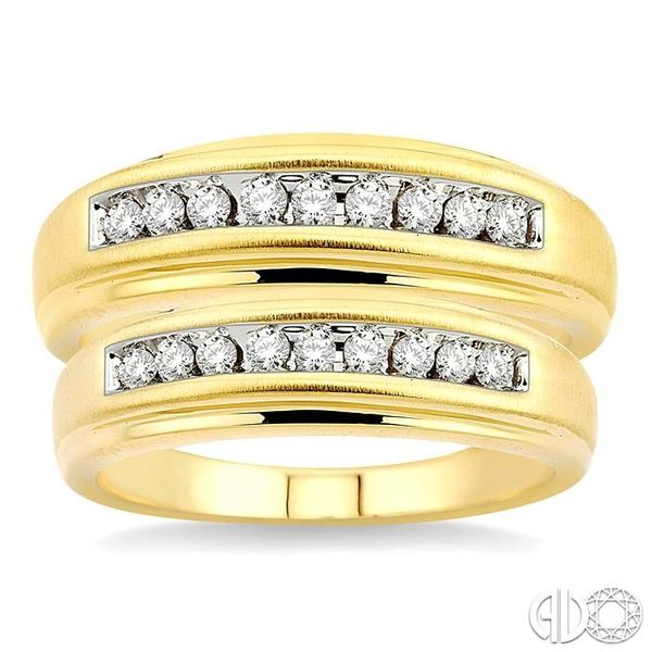 1/3 Ctw Round Cut Diamond Duos Ring Set in 10K Yellow Gold Image 2 Grogan Jewelers Florence, AL