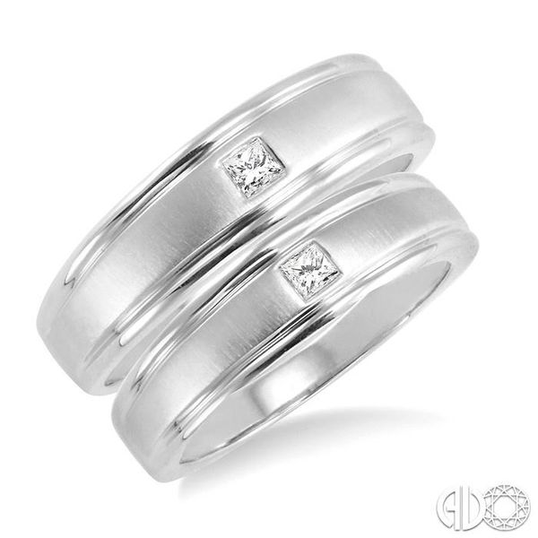 1/6 Ctw Princess Cut Diamond Duos Ring Set in 14K White Gold Grogan Jewelers Florence, AL