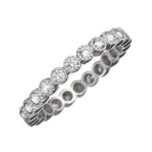The Bezel Band in White Gold and White Diamonds Grogan Jewelers Florence, AL