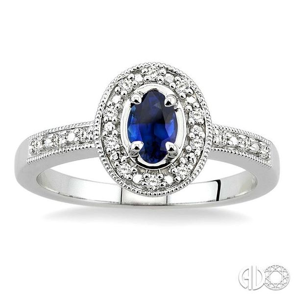 5x3mm oval cut Sapphire and 1/10 Ctw Single Cut Diamond Ring in 14K White Gold. Image 2 Grogan Jewelers Florence, AL