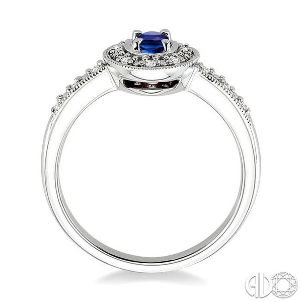 5x3mm oval cut Sapphire and 1/10 Ctw Single Cut Diamond Ring in 14K White Gold. Image 3 Grogan Jewelers Florence, AL