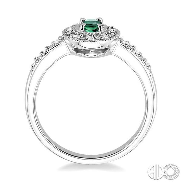 5x3mm Oval Shape Emerald and 1/10 Ctw Single Cut Diamond Ring in 10K White Gold Image 3 Grogan Jewelers Florence, AL