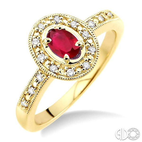 5x3mm oval cut Ruby and 1/10 Ctw Single Cut Diamond Ring in 10K Yellow Gold. Grogan Jewelers Florence, AL