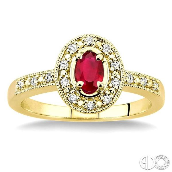 5x3mm oval cut Ruby and 1/10 Ctw Single Cut Diamond Ring in 10K Yellow Gold. Image 2 Grogan Jewelers Florence, AL