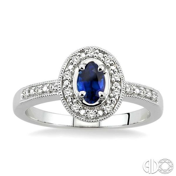 5x3mm Oval Cut Sapphire and 1/10 Ctw Single Cut Diamond Ring in 10K White Gold. Image 2 Grogan Jewelers Florence, AL