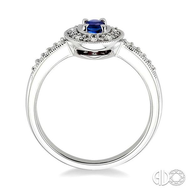 5x3mm Oval Cut Sapphire and 1/10 Ctw Single Cut Diamond Ring in 10K White Gold. Image 3 Grogan Jewelers Florence, AL