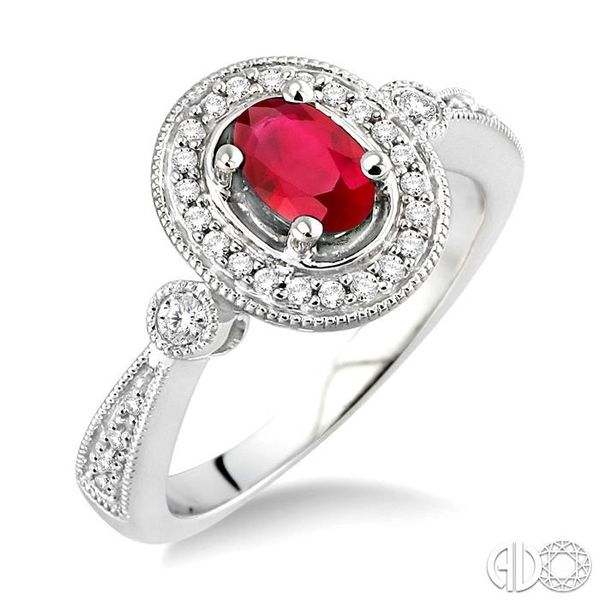 6x4mm Oval Cut Ruby and 1/5 Ctw Round Cut Diamond Ring in 14K White Gold Grogan Jewelers Florence, AL