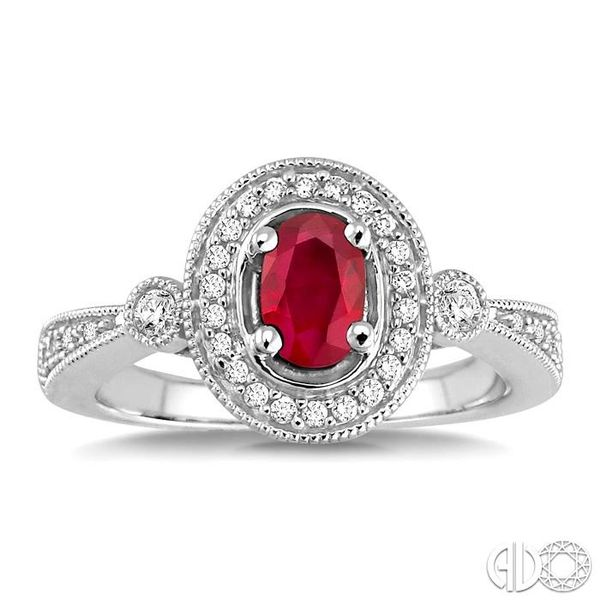 6x4mm Oval Cut Ruby and 1/5 Ctw Round Cut Diamond Ring in 14K White Gold Image 2 Grogan Jewelers Florence, AL