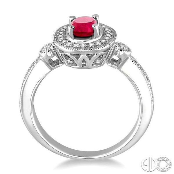 6x4mm Oval Cut Ruby and 1/5 Ctw Round Cut Diamond Ring in 14K White Gold Image 3 Grogan Jewelers Florence, AL