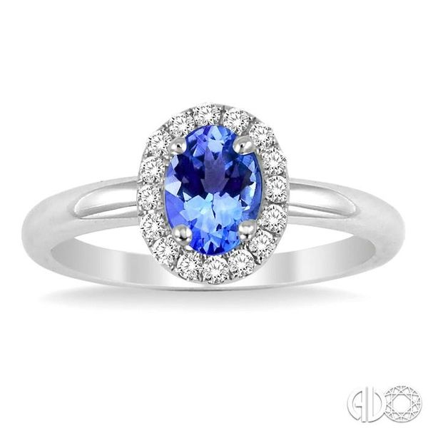 6x4 MM Oval Shape Tanzanite and 1/6 Ctw Round Cut Diamond Ring in 14K White Gold Image 2 Grogan Jewelers Florence, AL