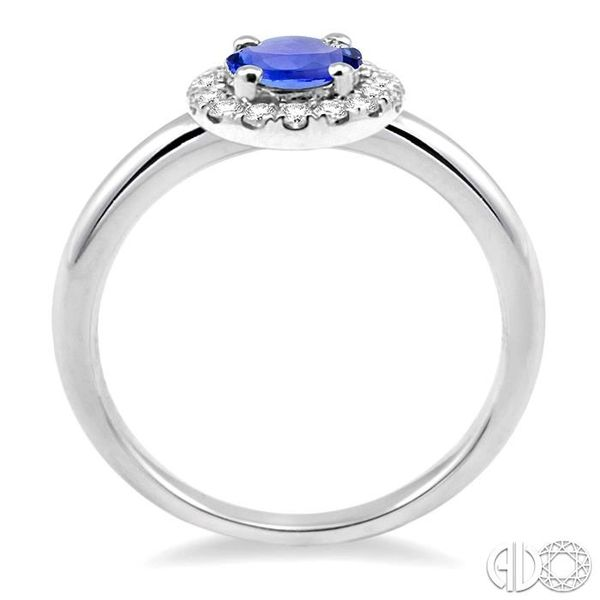 6x4 MM Oval Shape Tanzanite and 1/6 Ctw Round Cut Diamond Ring in 14K White Gold Image 3 Grogan Jewelers Florence, AL