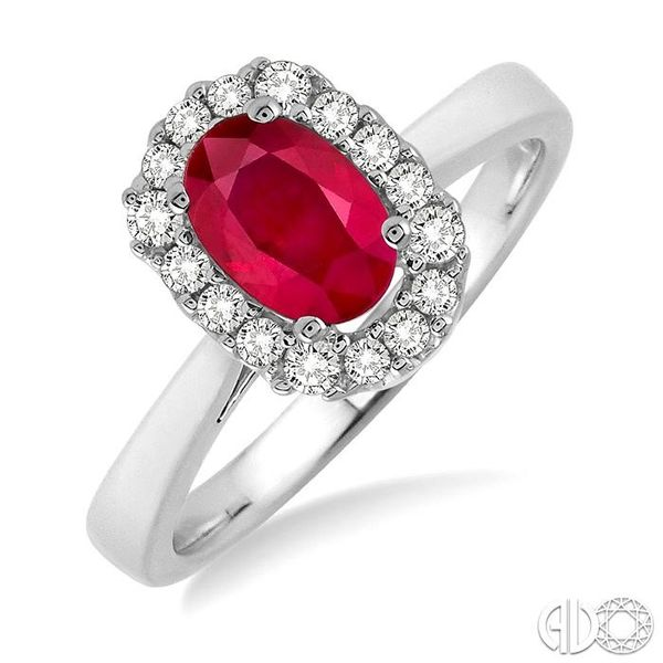 6x4 MM Oval Cut Ruby and 1/6 Ctw Round Cut Diamond Ring in 14K White Gold Grogan Jewelers Florence, AL