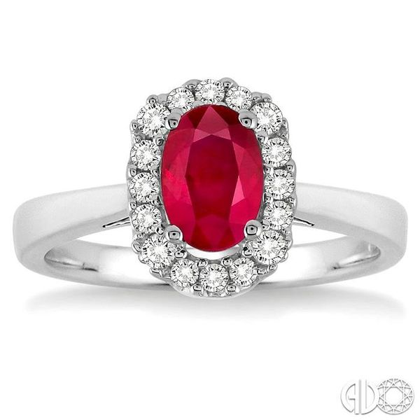 6x4 MM Oval Cut Ruby and 1/6 Ctw Round Cut Diamond Ring in 14K White Gold Image 2 Grogan Jewelers Florence, AL