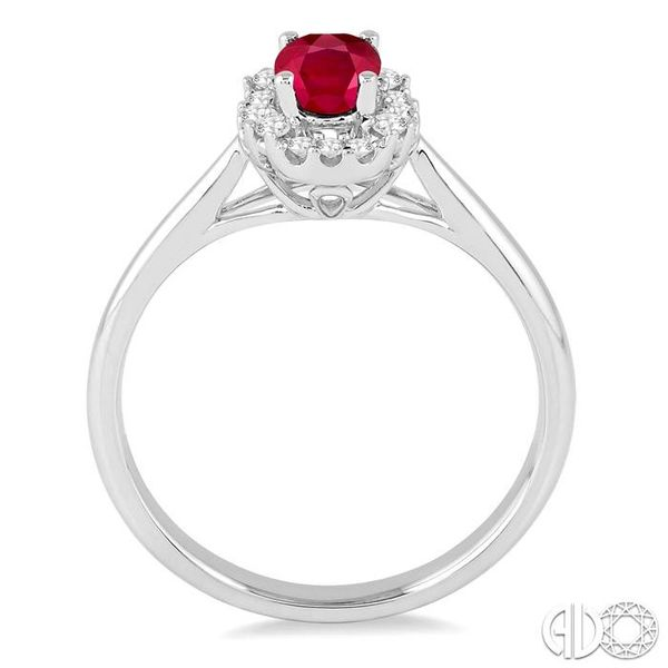6x4 MM Oval Cut Ruby and 1/6 Ctw Round Cut Diamond Ring in 14K White Gold Image 3 Grogan Jewelers Florence, AL