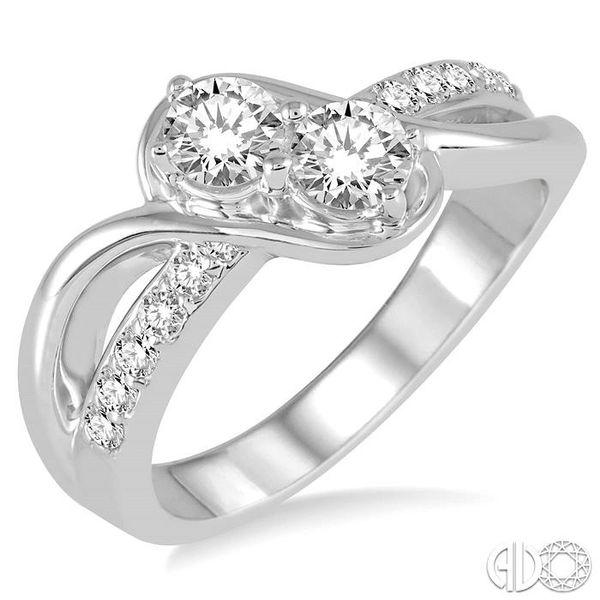 1 Ctw Cross Over Embraced Center Round Cut Diamond 2Stone Ring in 14K White Gold Grogan Jewelers Florence, AL