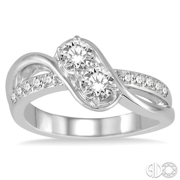 1 Ctw Cross Over Embraced Center Round Cut Diamond 2Stone Ring in 14K White Gold Image 2 Grogan Jewelers Florence, AL