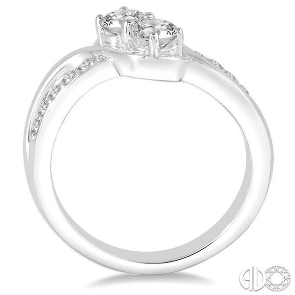 1 Ctw Cross Over Embraced Center Round Cut Diamond 2Stone Ring in 14K White Gold Image 3 Grogan Jewelers Florence, AL
