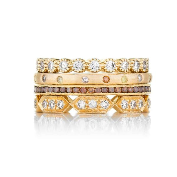 The Bezel Band in Yellow Gold and White Diamonds Bezel Image 2 Grogan Jewelers Florence, AL