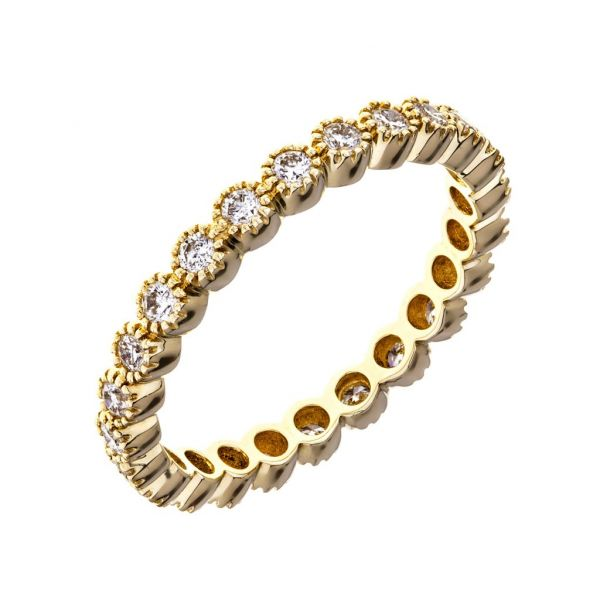 No. 24 Stacked Bands with White Diamonds in Yellow Gold Image 4 Grogan Jewelers Florence, AL