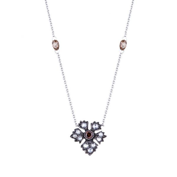 The Enchanted Garden Necklace with Champagne Diamonds in White Gold and Black Rhodium Grogan Jewelers Florence, AL