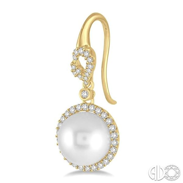 10x10 MM White Cultured Pearl and 5/8 Ctw Round Cut Diamond Earrings in 14K Yellow Gold Image 3 Grogan Jewelers Florence, AL