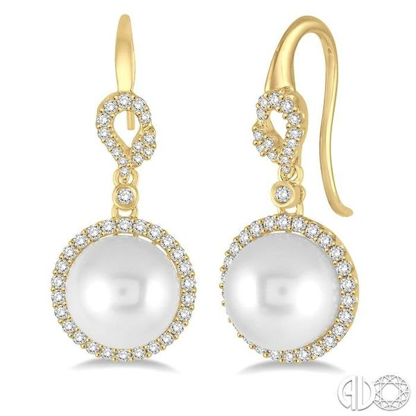 10x10 MM White Cultured Pearl and 5/8 Ctw Round Cut Diamond Earrings in 14K Yellow Gold Grogan Jewelers Florence, AL