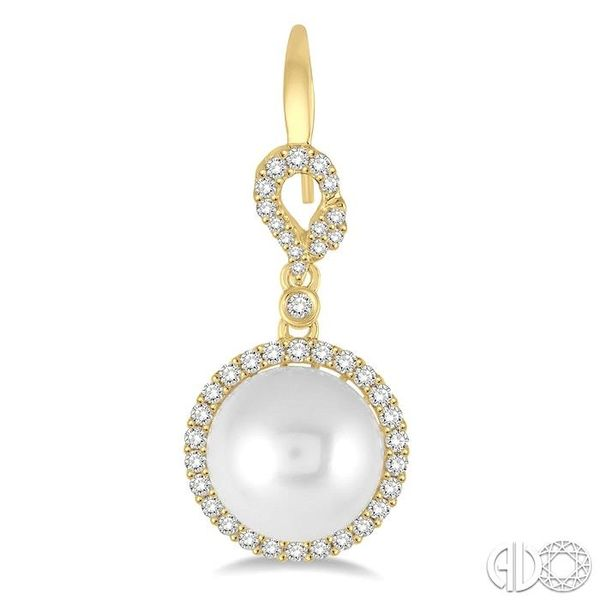 10x10 MM White Cultured Pearl and 5/8 Ctw Round Cut Diamond Earrings in 14K Yellow Gold Image 2 Grogan Jewelers Florence, AL