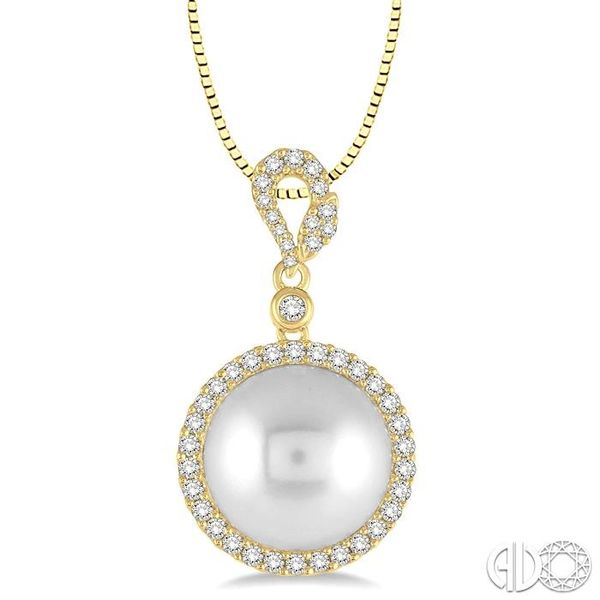 12x12 MM White Cultured Pearl and 3/8 Ctw Round Cut Diamond Pendant in 14K Yellow Gold with chain Grogan Jewelers Florence, AL