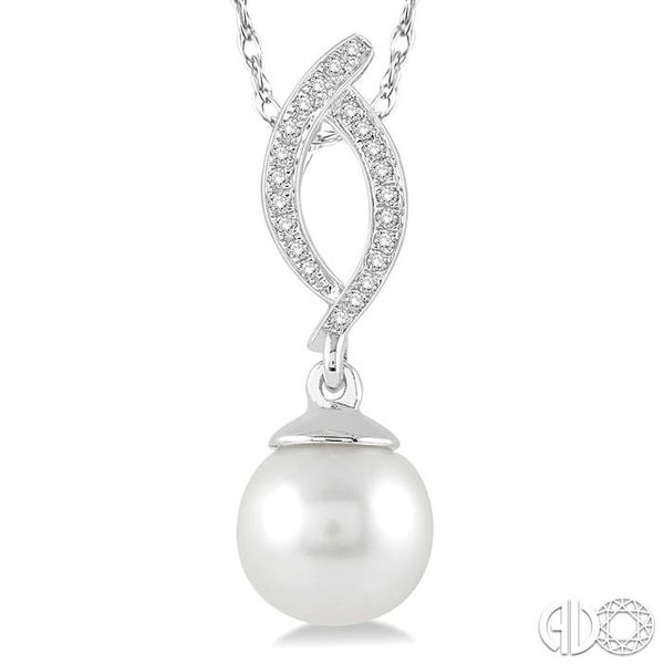 7x7 MM Round Cut Cultured Pearl and 1/20 Ctw Round Cut Diamond Pendant in 14K White Gold with Chain Image 3 Grogan Jewelers Florence, AL