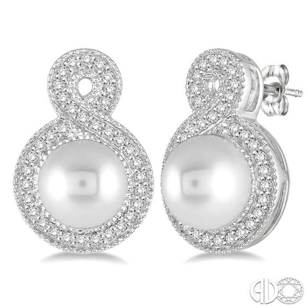 6x6 MM Cultured Pearl and 1/4 Ctw Round Cut Diamond Fancy Earrings in 10K White Gold Grogan Jewelers Florence, AL