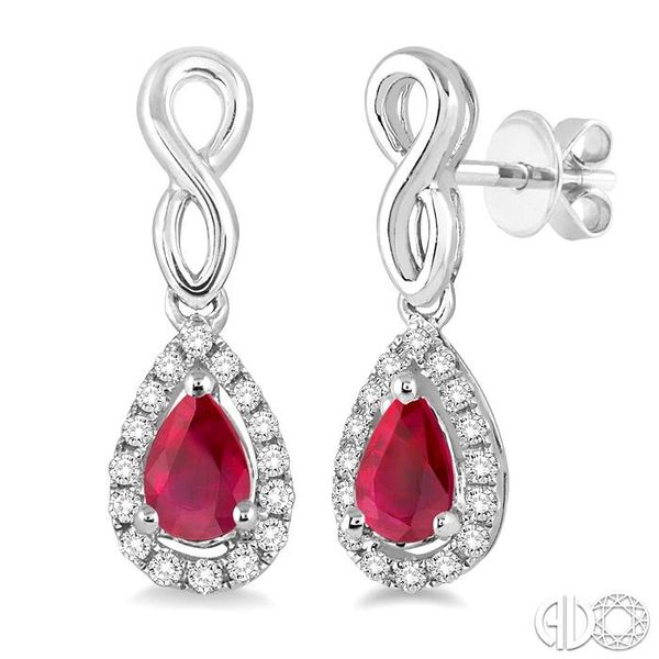 5x3 MM Pear Shape Ruby and 1/6 Ctw Round Cut Diamond Earrings in 14K White Gold Grogan Jewelers Florence, AL
