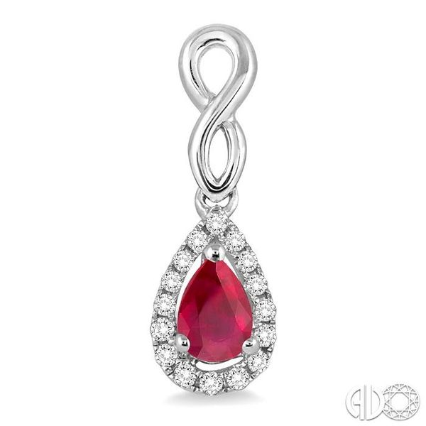 5x3 MM Pear Shape Ruby and 1/6 Ctw Round Cut Diamond Earrings in 14K White Gold Image 2 Grogan Jewelers Florence, AL
