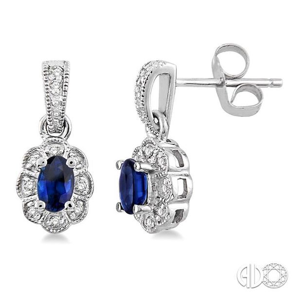 5x3mm Oval Cut Sapphire and 1/10 Ctw Single Cut Diamond Earrings in 14K White Gold Grogan Jewelers Florence, AL