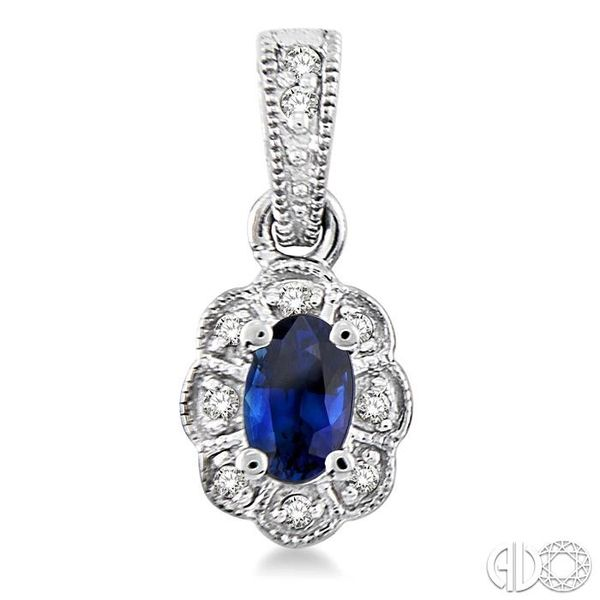 5x3mm Oval Cut Sapphire and 1/10 Ctw Single Cut Diamond Earrings in 14K White Gold Image 2 Grogan Jewelers Florence, AL