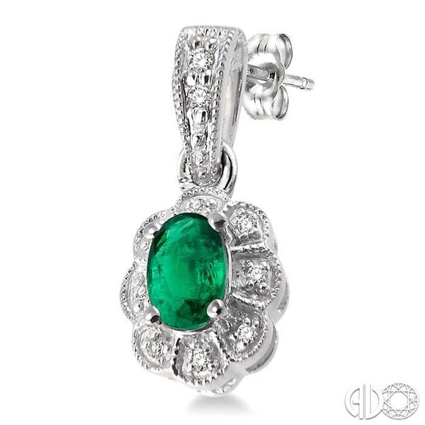 5x3mm Oval Cut Emerald and 1/10 Ctw Single Cut Diamond Earrings in 10K White Gold Image 3 Grogan Jewelers Florence, AL