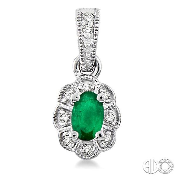 5x3mm Oval Cut Emerald and 1/10 Ctw Single Cut Diamond Earrings in 10K White Gold Image 2 Grogan Jewelers Florence, AL