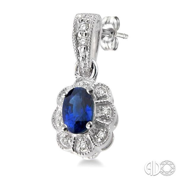 5x3mm Oval Cut Sapphire and 1/10 Ctw Single Cut Diamond Earrings in 10K White Gold Image 3 Grogan Jewelers Florence, AL