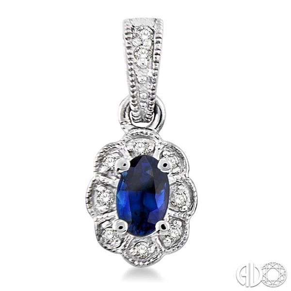 5x3mm Oval Cut Sapphire and 1/10 Ctw Single Cut Diamond Earrings in 10K White Gold Image 2 Grogan Jewelers Florence, AL