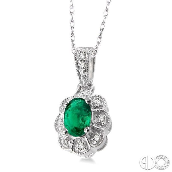 6x4mm Oval Cut Emerald and 1/20 Ctw Single Cut Diamond Pendant in 10K White Gold with Chain Image 2 Grogan Jewelers Florence, AL