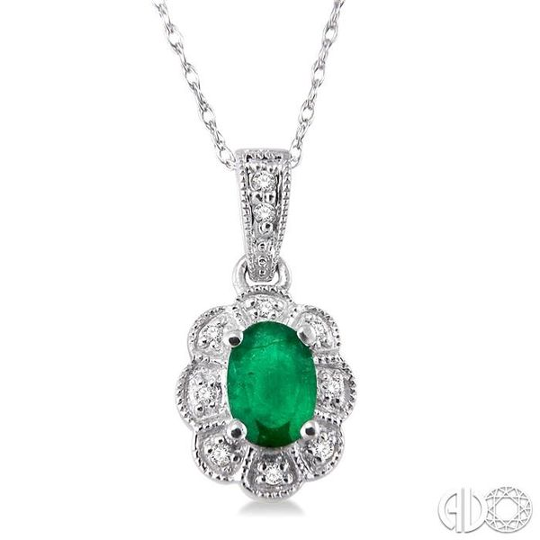 6x4mm Oval Cut Emerald and 1/20 Ctw Single Cut Diamond Pendant in 10K White Gold with Chain Grogan Jewelers Florence, AL