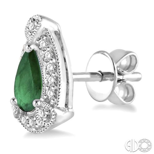 5x3 mm Pear Shape Emerald and 1/6 Ctw Round Cut Diamond Earrings in 10K White Gold Image 3 Grogan Jewelers Florence, AL